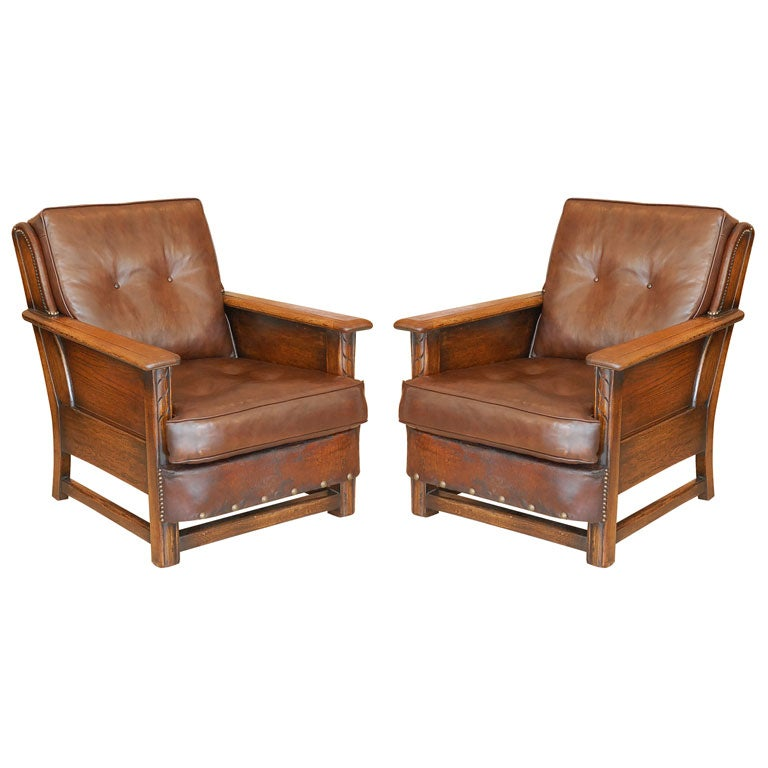 Pouf Design Egg Pouf Jacobsen : Pair of wood and leather rustic chairs at stdibs