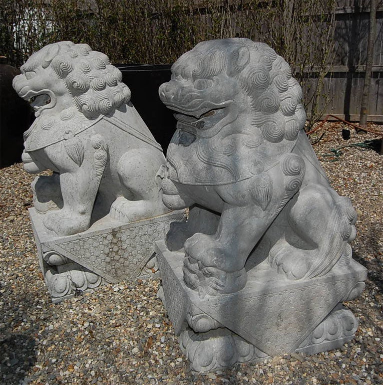 Pair of Carved Stone Chinese Foo Dogs 4
