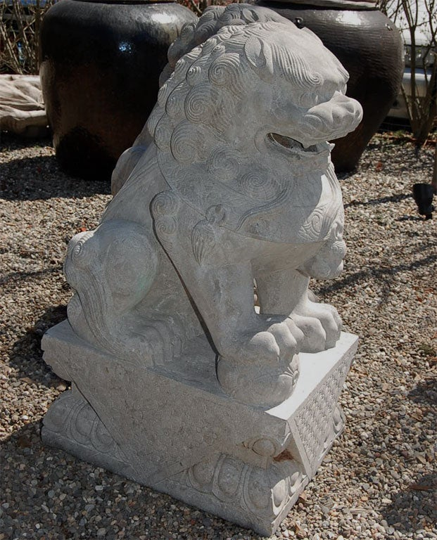 Pair of Carved Stone Chinese Foo Dogs 5