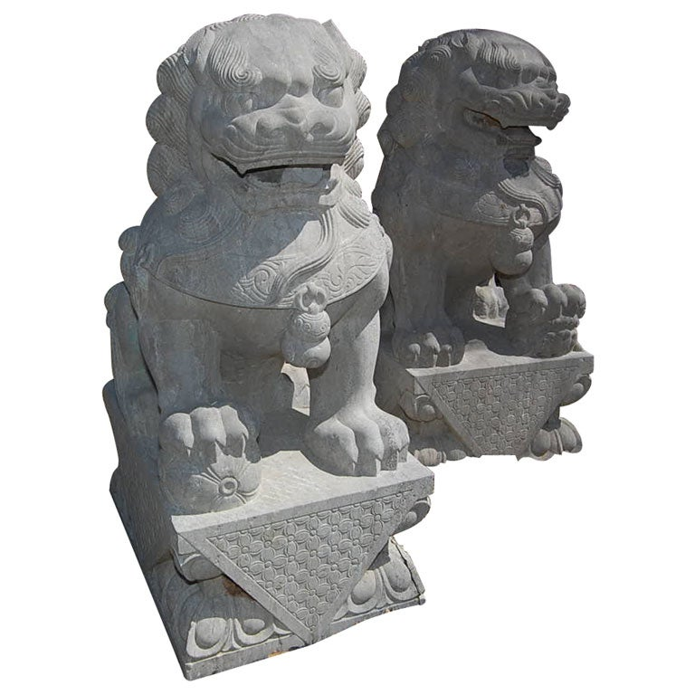 Pair of Carved Stone Chinese Foo Dogs 1