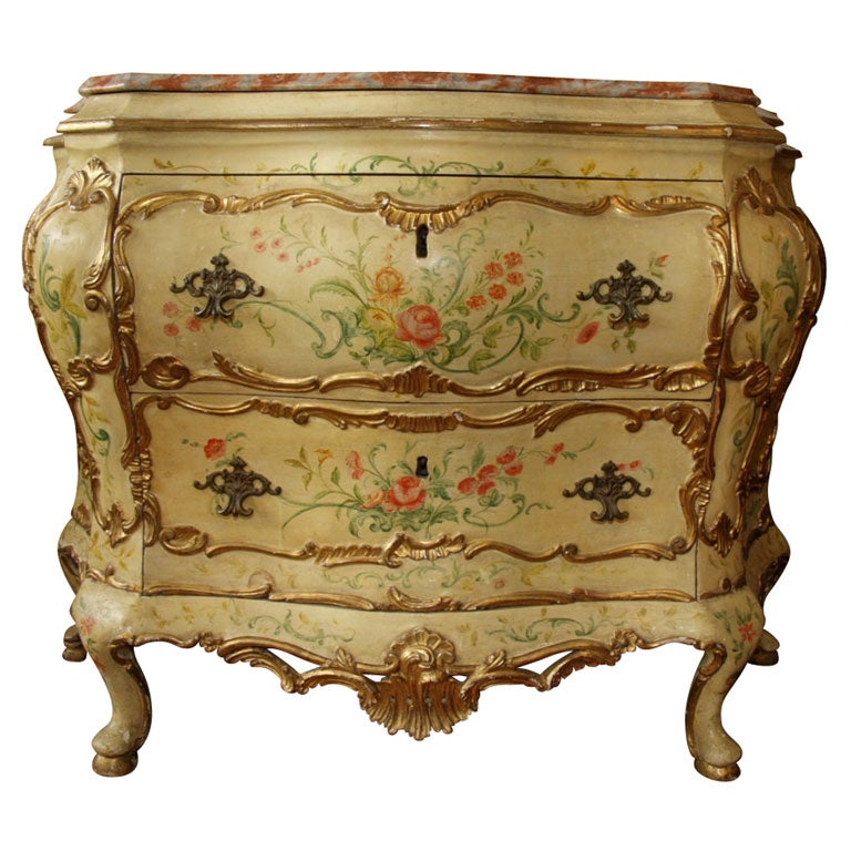 18th c italian painted bombe commode for sale at 1stdibs for Italian painted furniture