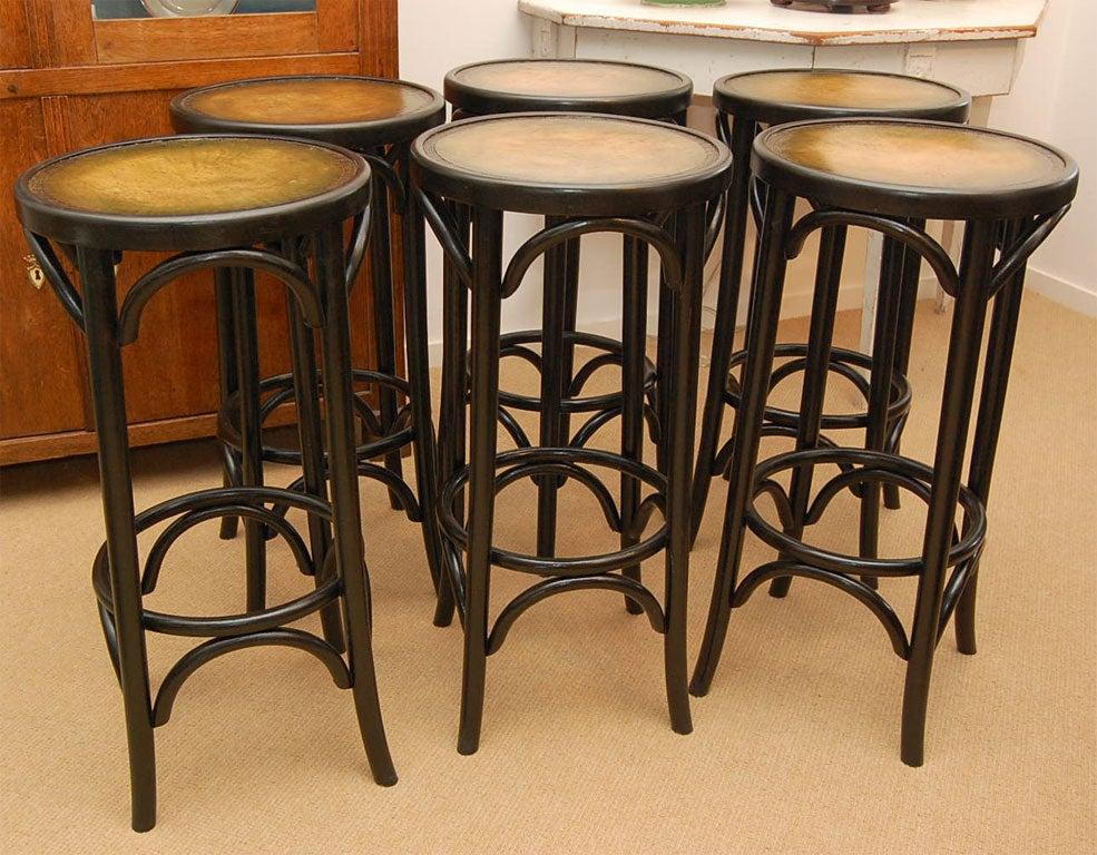 Set Of Three 1930 S Leather Topped Ebonized Bentwood Bar