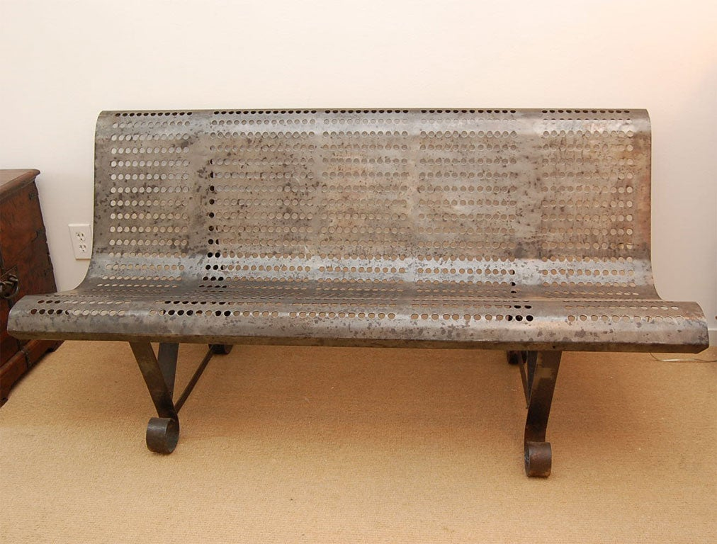 Mid Century French Burnished Steel Park Bench At 1stdibs