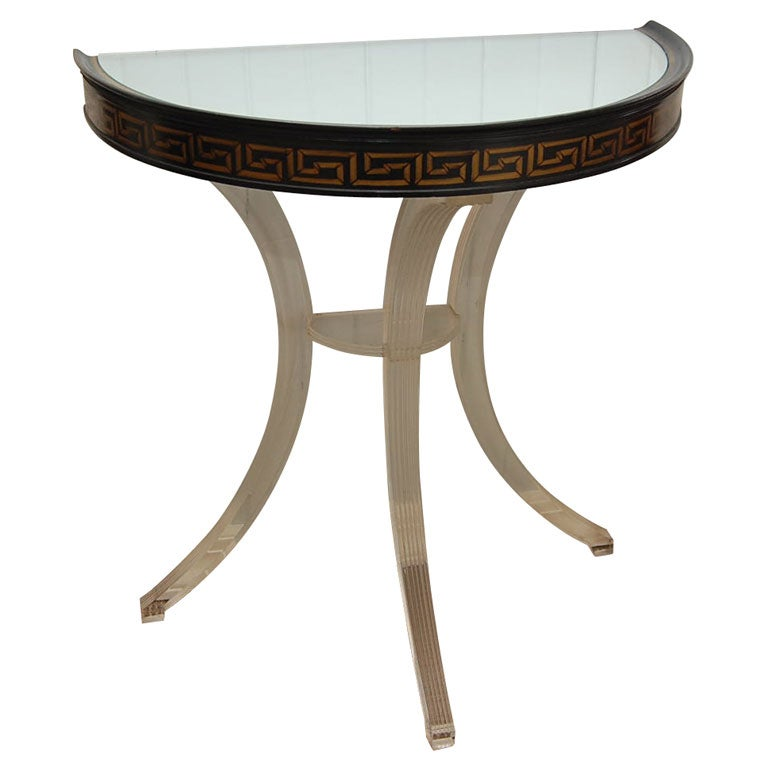 petite lucite demi lune console by grosfeld house at 1stdibs. Black Bedroom Furniture Sets. Home Design Ideas