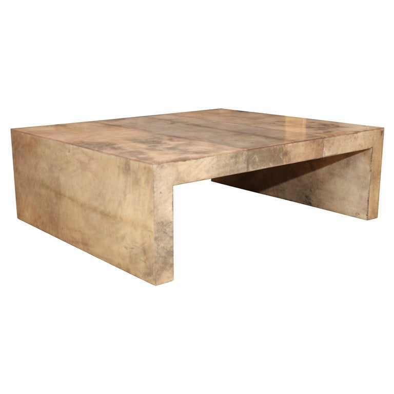 Parsons Style Coffee Table In Beige And Grey Parchment At 1stdibs