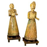 19th Century Pair of Life Sized Asian Carved Figures on Painted Stands