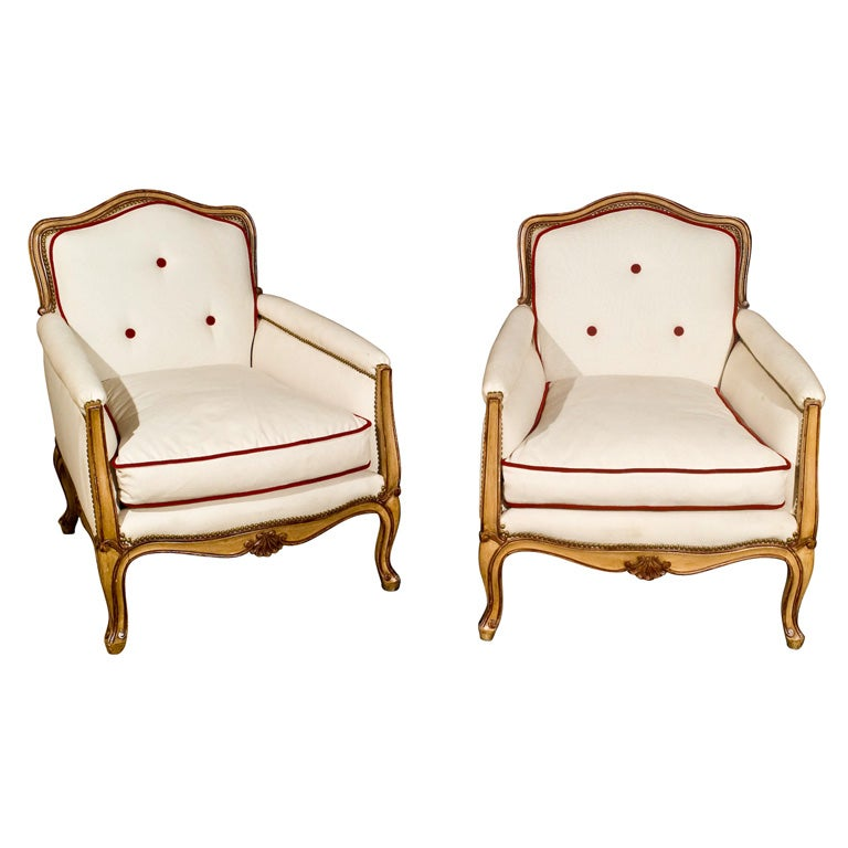 Pair of Jansen Stamped Hollywood Regency Louis XV Style Bergere Chairs