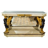 French Marble Top Console with Gilt Carved Swans manner of Jansen