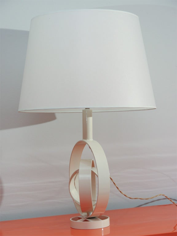 Original table lamp made of concentric metal rings, enameled metal construction with new paper shade.