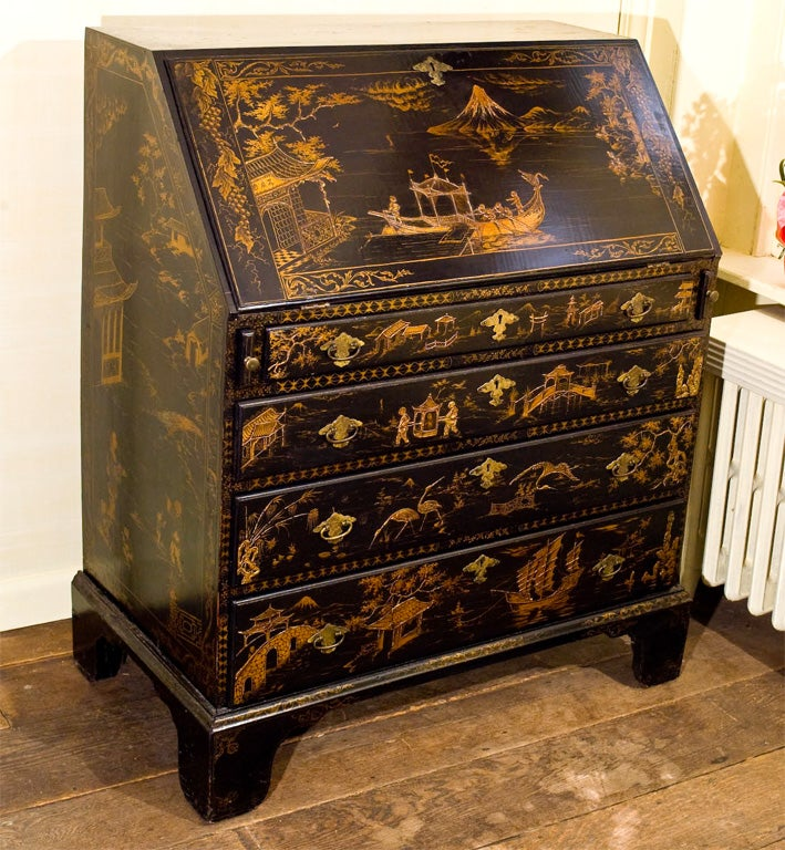 18th Century and Earlier Japanned Federal Slant-front Secretary For Sale