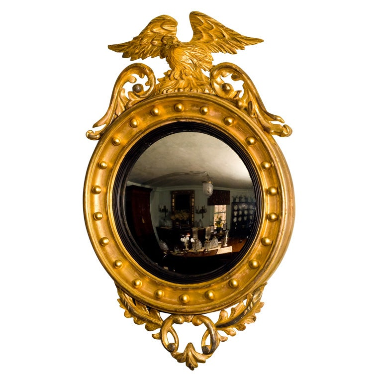 Philadelphia Federal Giltwood Convex Mirror
