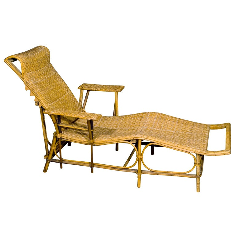 Fine wicker chaise longue at 1stdibs for Cane chaise longue