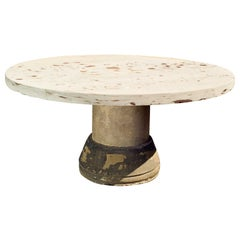 Large Round 19th Century Carved Yorkstone Table