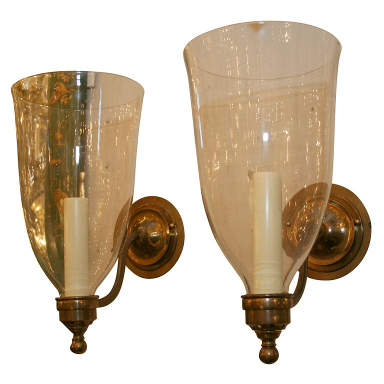 Colonial Brass Wall Sconces : American Colonial style brass wall lights at 1stdibs