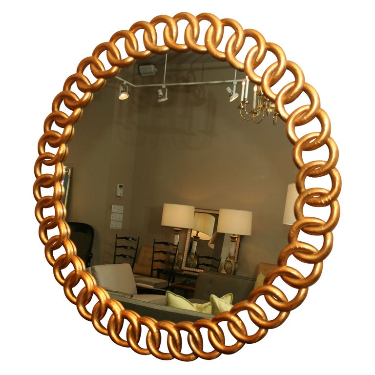 Large round gold leaf mirror italian at 1stdibs for Large round gold mirror