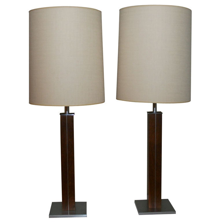 pair of nessen walnut and stainless steel table lamps at. Black Bedroom Furniture Sets. Home Design Ideas