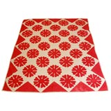 LATE 19THC RED&WHITE GEOMETRIC QUILT