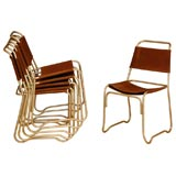 Set Of 6 Stacking Aluminum Dining Chairs