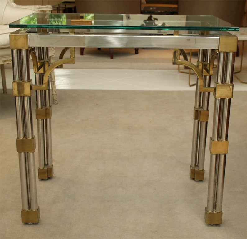 Pair Asian-Inspired End Tables in Chrome and Brass 2
