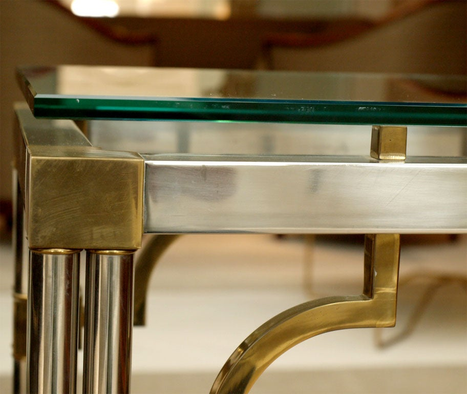 Pair Asian-Inspired End Tables in Chrome and Brass 3