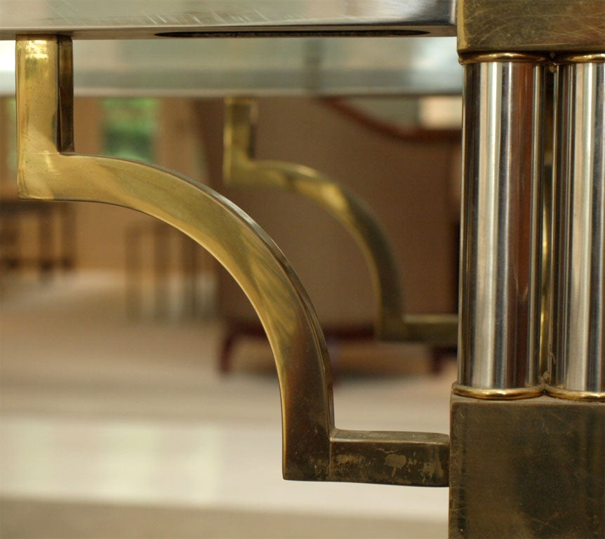 Pair Asian-Inspired End Tables in Chrome and Brass 4
