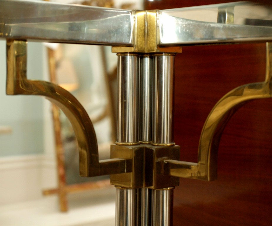 Pair Asian-Inspired End Tables in Chrome and Brass 7