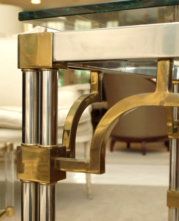 Pair Asian-Inspired End Tables in Chrome and Brass 8