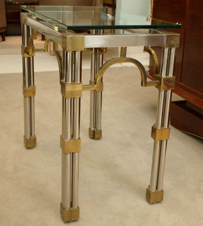 Pair Asian-Inspired End Tables in Chrome and Brass 9