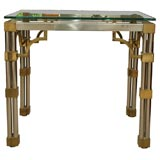 Pair Asian-Inspired End Tables in Chrome and Brass