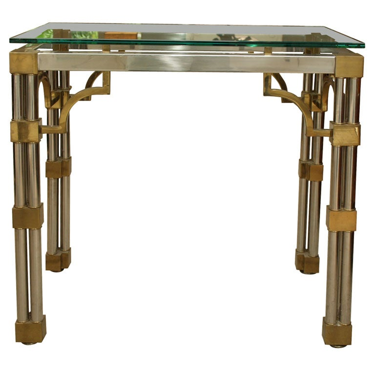 Pair Asian-Inspired End Tables in Chrome and Brass 1
