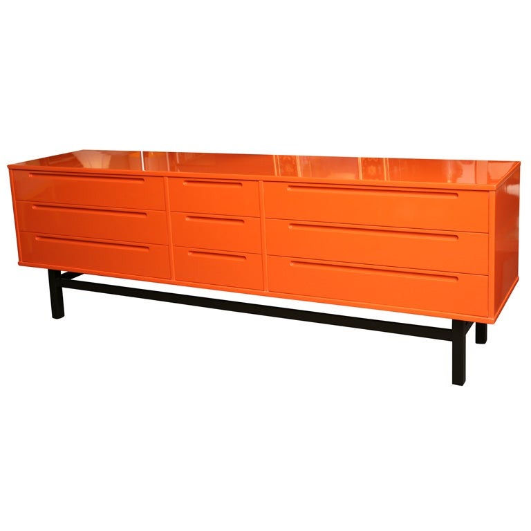 Modern Orange Lacquered Dresser Credenza At 1stdibs