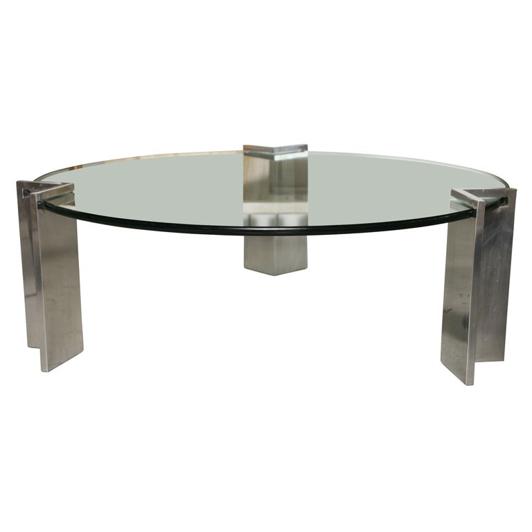 Aluminum and glass coffee table paul mayen for habitat for Coffee tables habitat