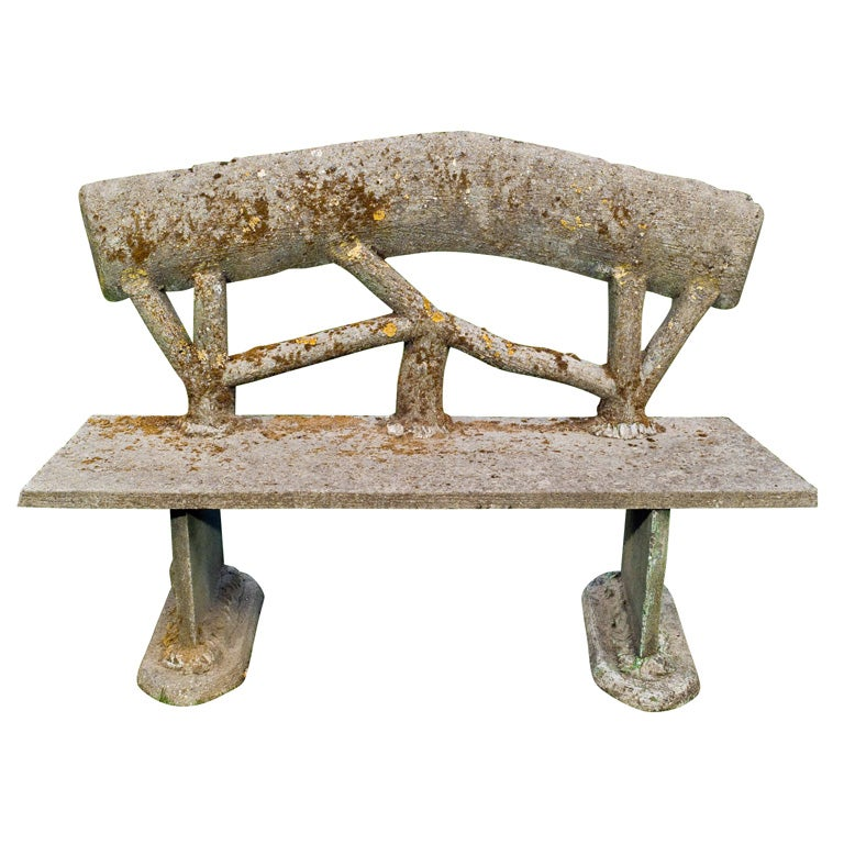 Whimsical Faux Bois Garden Benches For Sale