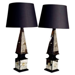 Pair of Mirrored Table Lamps Attributed to Serge Roche