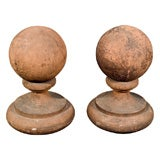 Pair of Gothic Revival Style Terra Cotta Ball Finials