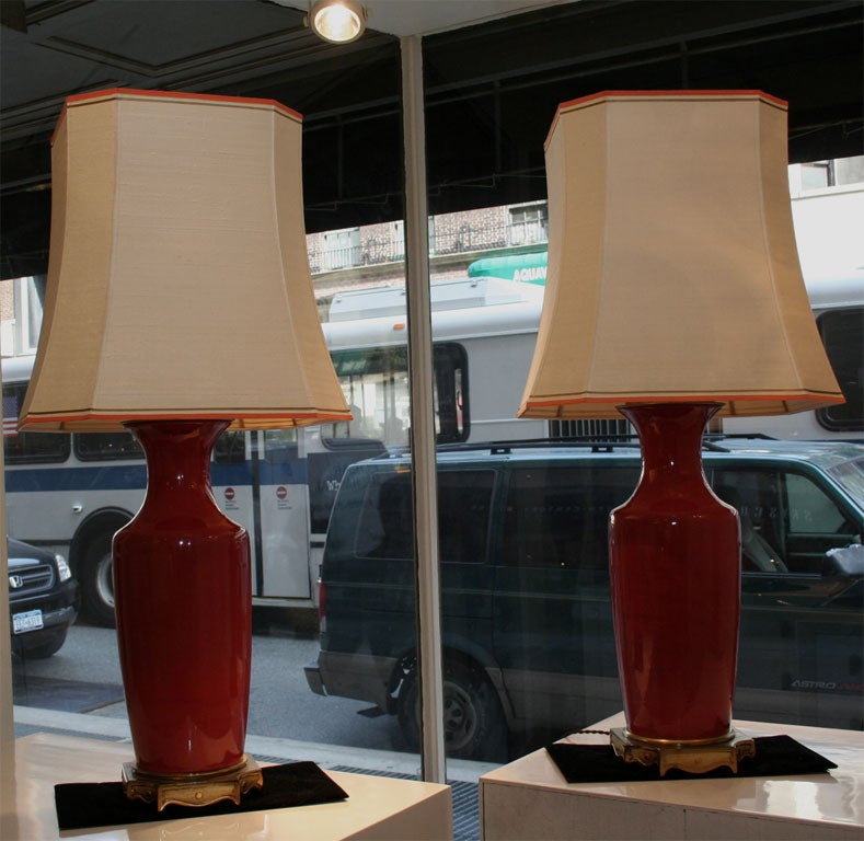 pair of ceramic coral colored lamps at 1stdibs. Black Bedroom Furniture Sets. Home Design Ideas