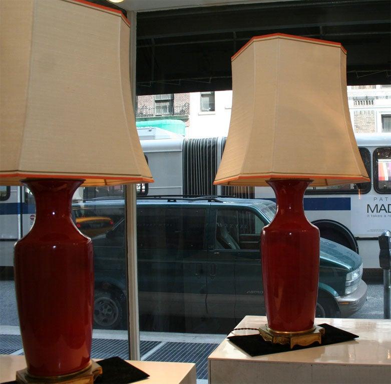 Pair Of Ceramic Coral Colored Lamps At 1stdibs