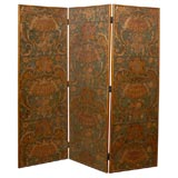 Three-panel Painted Leather Screen, c. 1890