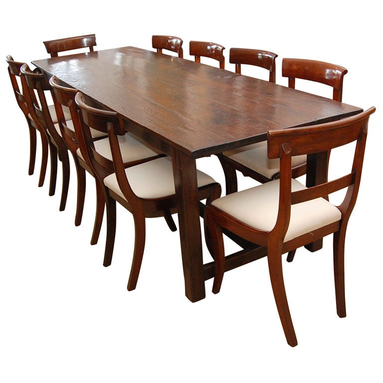 8 foot plus farmhouse dining table at 1stdibs for Dining room 8 feet wide
