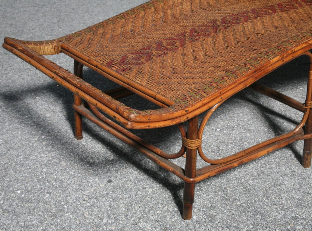 1920 39 s french rattan longue chaise at 1stdibs for Chaise longue rattan sintetico