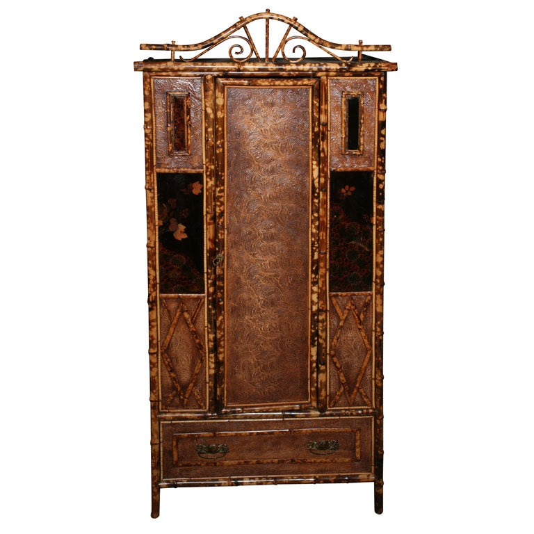19th century english bamboo armoire at 1stdibs. Black Bedroom Furniture Sets. Home Design Ideas