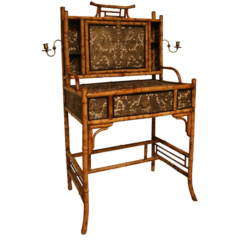 Very Rare ,Circa 1865 English  Bamboo Writing Desk