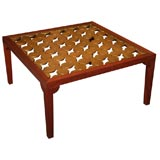 Parzinger Style Hollywood Regency 1950 Mahogany and Giltwood Grille Coffee Table