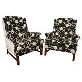 Pair of Modern Wormley Style Wingback Chairs