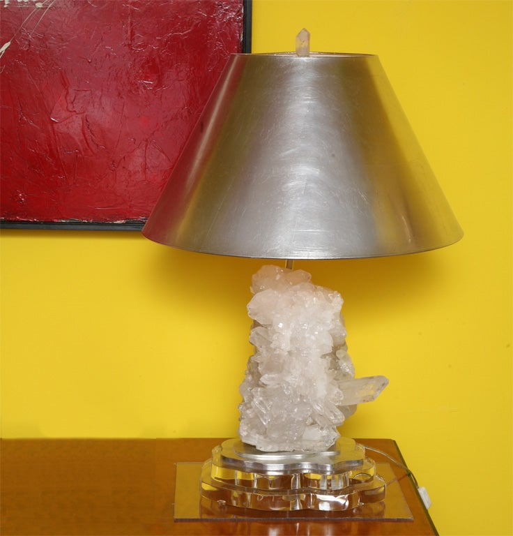 White Quartz Cluster Table Lamp With Platinum Shade At 1stdibs