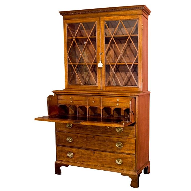 A fine Hepplewhite mahogany breakfront bookcase