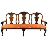 Walnut Three-Seat Settee