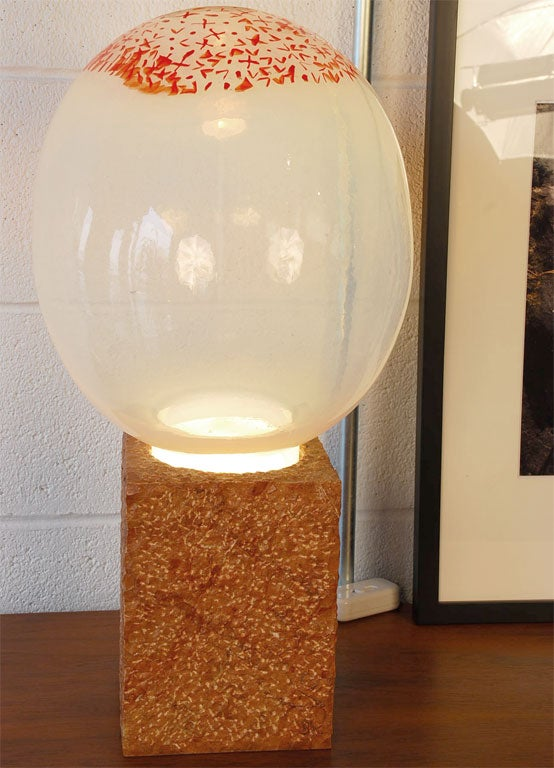 Unique Handblown Glass Sculpture Lamp With Marble Base At