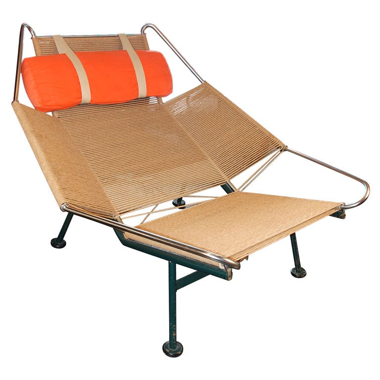 flag halyard lounge chair by hans wegner model ge225 at 1stdibs. Black Bedroom Furniture Sets. Home Design Ideas