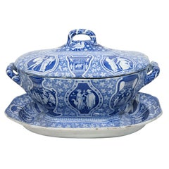 A Spode Blue and White  Tureen, Cover and Stand